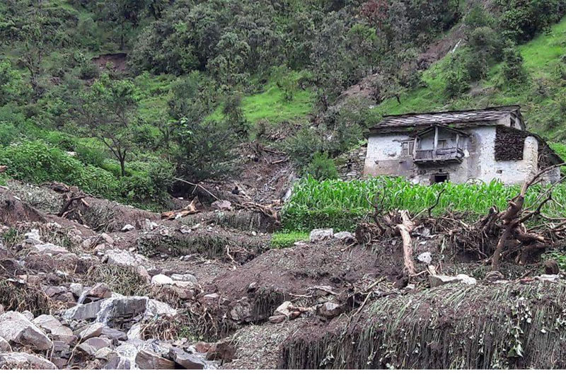 A house lies at a high risk of being buried by a landslide in Rajali, Badimalika Municipality-9 of Bajura district, in July 2016. Photo: Prakash Singh