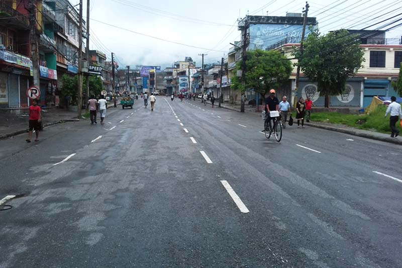 A road in Nayabazzar, Pokhara looks deserted as the CPN Maoist led by Netra Bikram Chand imposed a nationwide bandh, on July 25, 2016. Photo: RSS