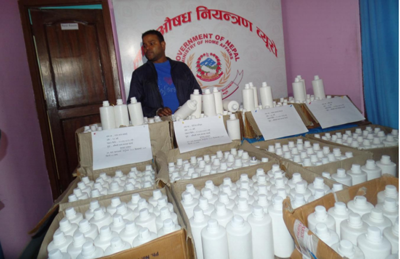 Police make public a cache of chemical precursors seized from alleged smugglers, in Kathmandu, on Sunday, July 31, 2016. Photo: NCB