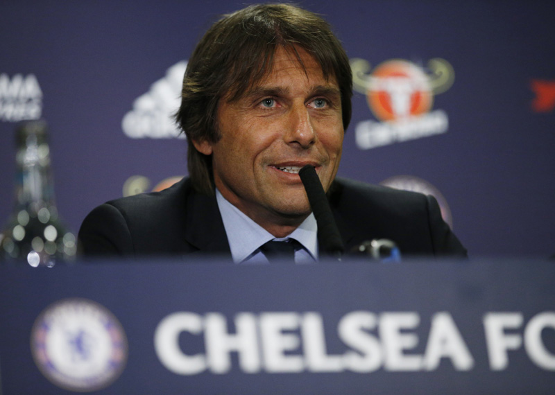 Chelsea manager Antonio Conte during the press conferencen at Stamford Bridge in London, on Thursday, July 14, 2016. Photo: Reuters