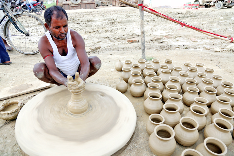 A man practices pottery near Ghantaghar of Birgunj in Parsa district on Friday, July 1, 2016. Photo: RSS