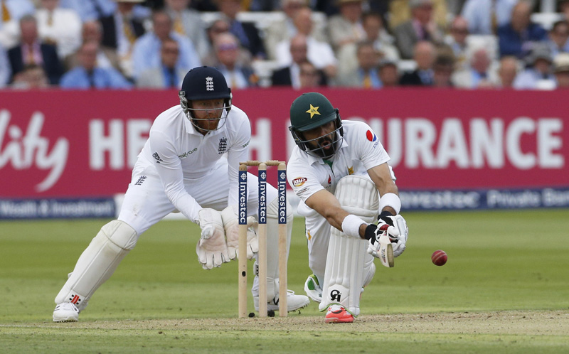 Pakistan's Misbah ul Haq iin actionn during First Test match against England at Lord's on Thursday, July 14, 2016. Photo: Reuters