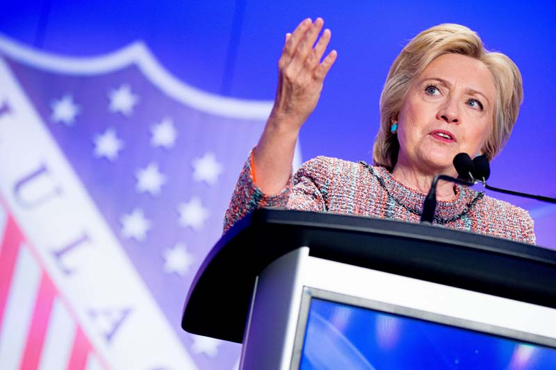 Democratic presidential candidate Hillary Clinton speaks at the 87th League of United Latin American Citizens National Convention at the Washington Hilton in Washington on Thursday, July 14, 2016. Photo: AP