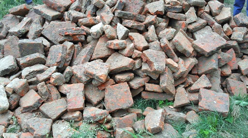 Bricks recovered from a paddy field in Sakhuawa Dhamaura VDC, Rautahat, on Friday, July 15, 2016. Photo: THT