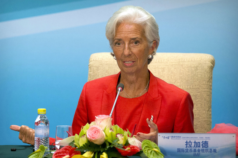 International Monetary Fund (IMF) Managing Director Christine Lagarde speaks during a press conference for the 1+6 Roundtable on promoting economic growth at the Diaoyutai State Guesthouse in Beijing, Friday, July 22, 2016. Photo: AP