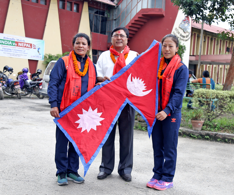 Judoka Phupu Lhamu Khatri is being handed over the national flag prior to her departure to the Rio Games in Brazil, on Friday, July 29, 2016. Photo: RSS