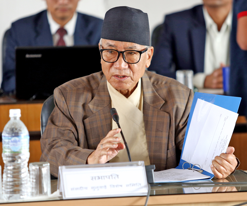 Parliamentary Hearing Special Committee Chairman Kul Bahadur Gurung announces that Ayodhi Prasad Yadav was endorsed for the post of Chief Election Commissioner, after a meeting in Singha Durbar on Friday, July 8, 2016. Photo: RSS