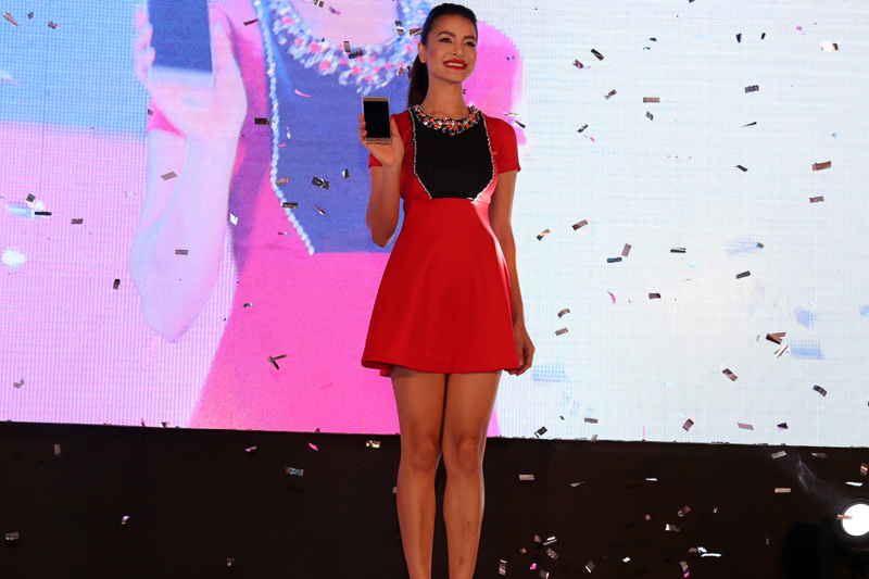 A model poses for a photograph during the launch of a new mobile phone in Kathmandu, on Friday, July 22, 2016. Photo: RSS