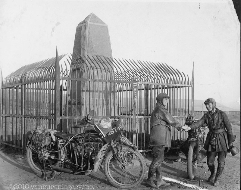 Adeline and Augusta Van Buren at the United States/Mexico border during their cross-country motorcycle trip, in 1916. A century ago, when the automobile was in its infancy and most roads in the United States weren't paved, the intrepid sisters from Brooklyn embarked on a remarkable journey, a 4,000-mile trek across the country, aboard two Indian motorcycles. Photo Courtesy: Dan Ruderman via AP