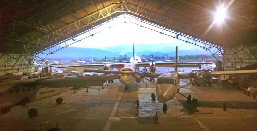 Aircraft of Nepal Airlines Corporation parked in the hangar at the Tribhuvan International Airport in Kathmandu. Photo: Dhurba Ale