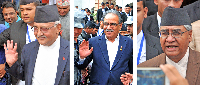 Prime Minister KP Sharma Oli, CPN-UML Chairman Pushpa Kamal Dahal and Nepali Congress President Sher Bahadur Deuba coming out of the Parliament building after failing to forge nconsensus in a meeting called by Speaker Onsari Gharti Magar, on Thursday, July 21, 2016. Photo: BALKRISHNA THAPA CHHETRI