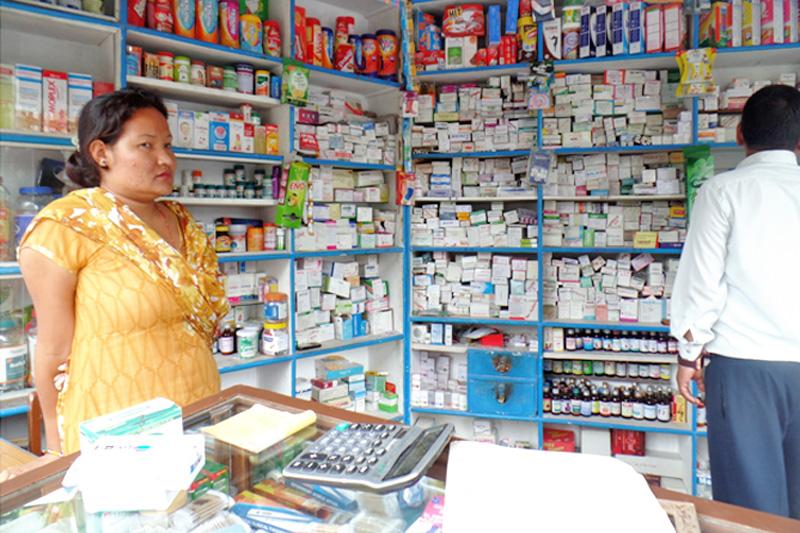 A monitoring team raids a pharmacy in Kathmandu, on Thursday, July 21, 2016. Photo: NCB