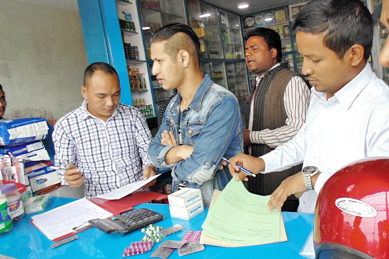 A monitoring team inspecting a pharmacy in Kathmandu, on Thursday, July 21, 2016. Photo: NCB