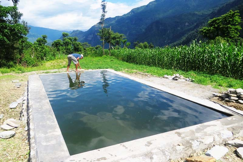 Water collected in a pond for the irrigation purpose in Thamdanda, Beni Municipaltiy-13 of Myagdi district on July 17, 2016. Photo: RSS