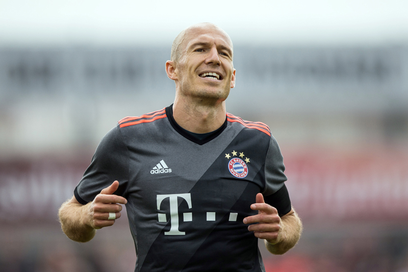 In this July 16, 2016 picture Munich's Arjen Robben reacts during the friendly soccer match between SV Lippstadt 08 and FC Bayern Munich in Lippstadt, Germany. Photo: AP