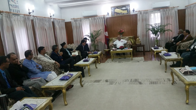 Prime Minister KP Sharma Oli holds a meeting with legal experts, in Baluwatar of Kathmandu, on Sunday, July 17, 2016. Photo: PM Nepal/Twitter