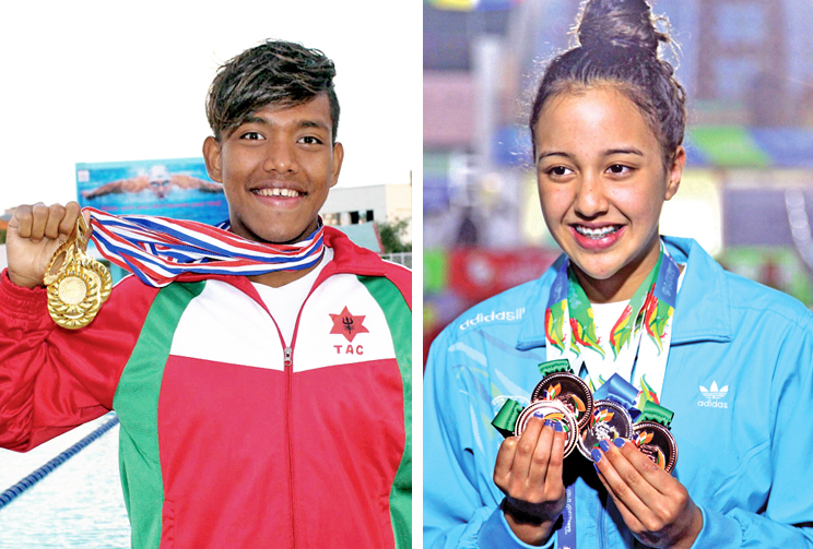 File photo of Swimmers Shirish Gurung and Gaurika Singh. Photos: THT