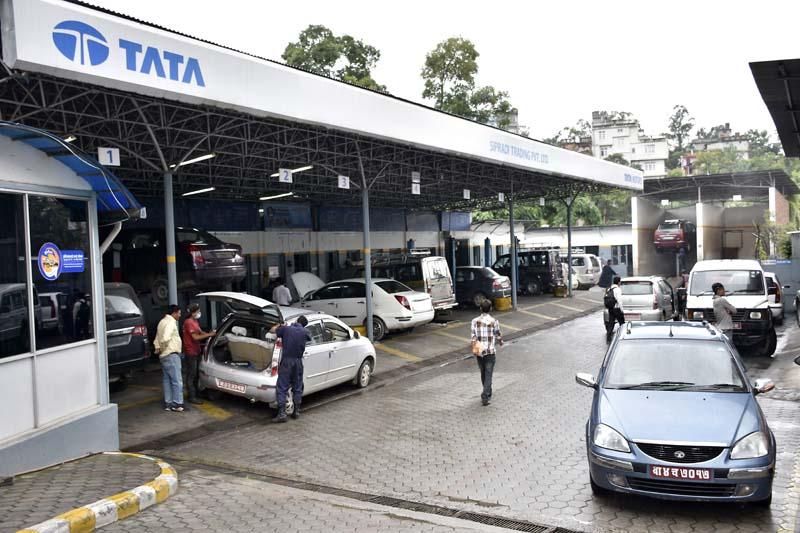 Passenger Vehicle, Sipradi Trading Pvt. Ltd, distributor of Tata motors located in Kathmandu. Photo: Shirish Amatya/THT