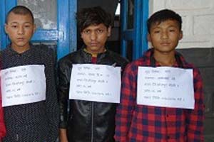 Distirct Police Office, Bhojpur makes public three persons arrested on charge of theft, in Lekhraka, Bhojpur, in July 2016. Photo: Niroj Koirala