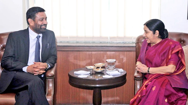 Nepal's Deputy Prime Minister and Minister for Home Affairs Bimalendra Nidhi meets Indian Minister for External Affairs Sushma Swaraj in New Delhi of India, on Friday, August 19, 2016. Photo: MEAIndia/Twitter
