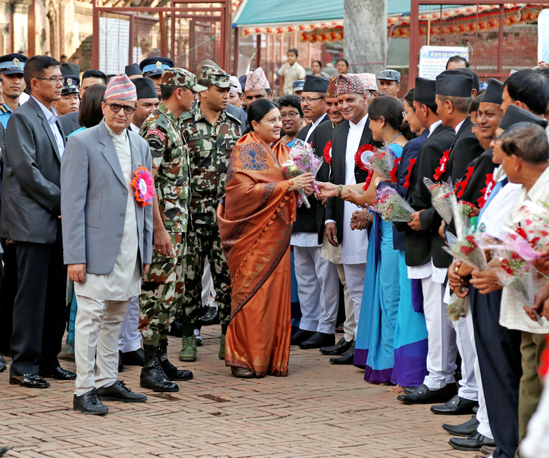 President Bidya Devi Bhandari being welcomed at the Patan Darbar Square on the occasion of Krishna Janmasthami, in Lalitpur, on Thursday, August 25, 2016. Photo: RSS
