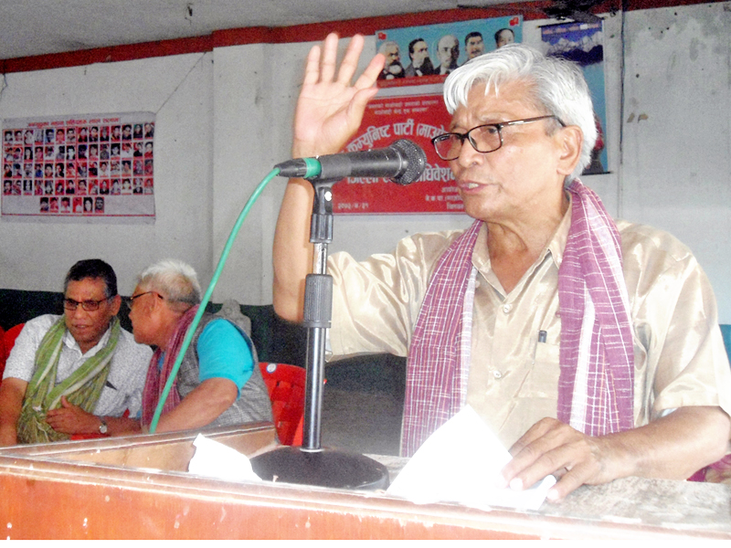 CPN Maoist Centre leader Amik Sherchan speaking at a programme in Chitwan, on Monday, August 15, 2016. Photo: RSS