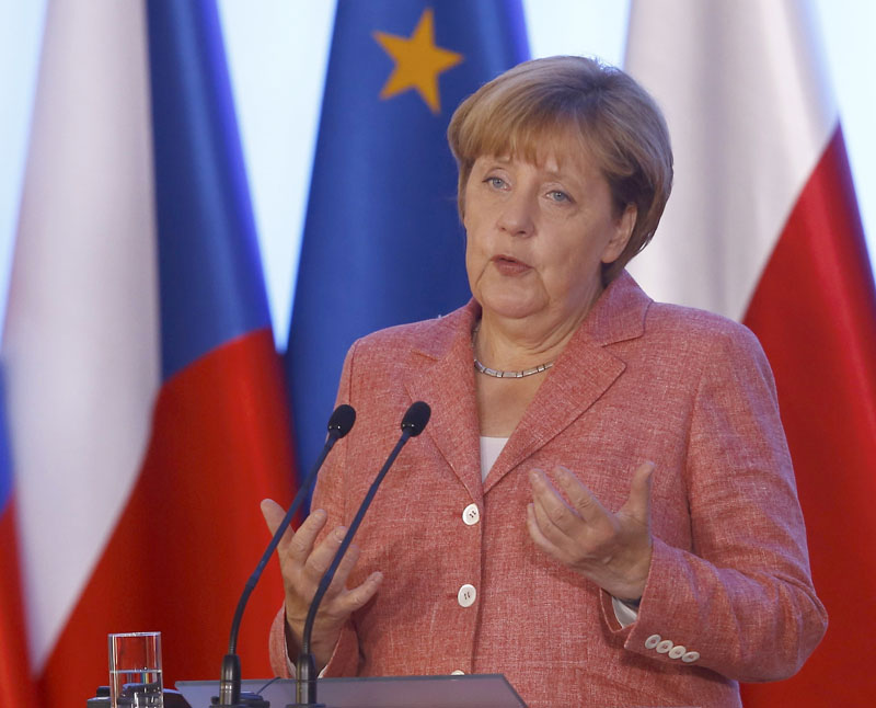 German Chancellor Angela Merkel speaks during the news conference in Warsaw, Poland, on August 26, 2016. Photo: Reuters