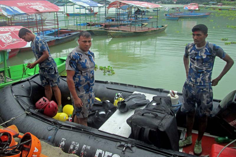 Armed Police force rescue team in Phewa Lake