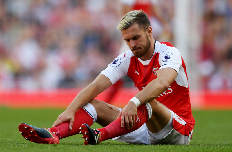 Arsenal's Aaron Ramsey after sustaining an injuryn during Barclays Premier League game against Liverpool at the Emirates stadium in London, on Sunday, August 14, 2016. Photo: Reuters