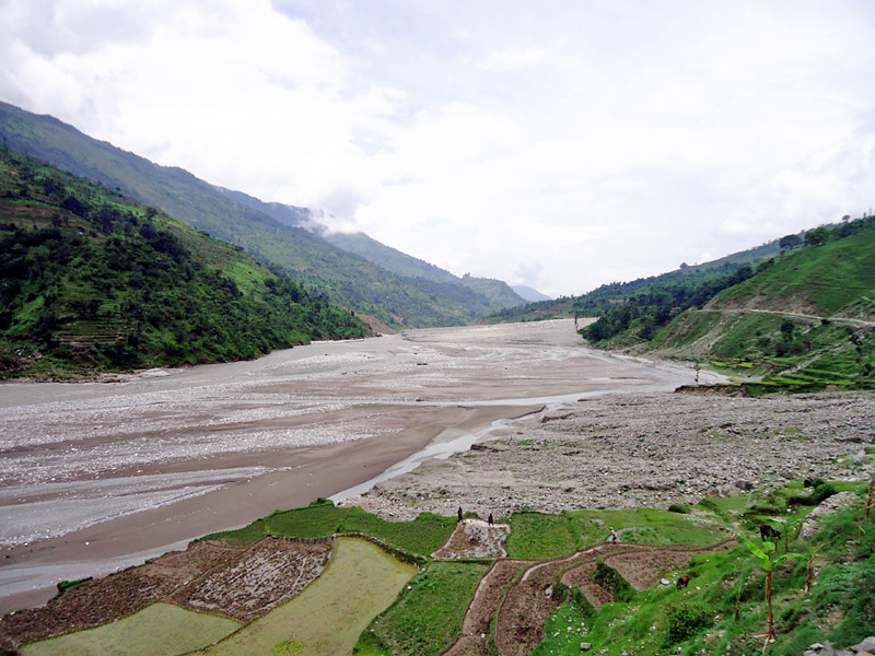 A view of the Budhiganga and Guigad rivers that have eroded arable land and settlements posing a  threat to the rural folks, in Bajura, onThursday, August 18, 2016. Photo: THT