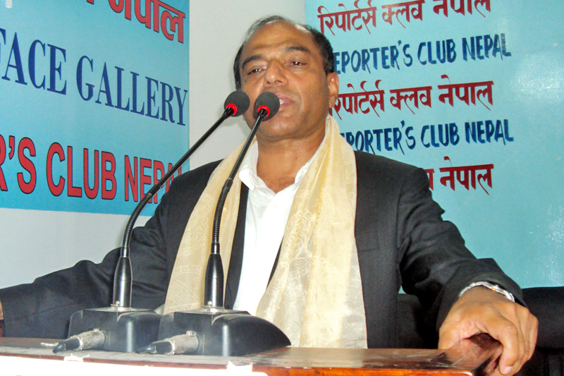 FILE: Chakrapani Khanal, chief political advisor to PM Pushpa Kamal Dahal, speaking at a programme in Kathmandu, on Sunday, August 14, 2016. Photo: RSS