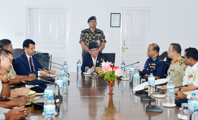 A delegation of Bangladesh security officials meets Prime Minister Pushpa Kamal Dahal at PM's official residence, in Balwatar, Kathmandu, on Wednesday, August 17, 2016. Photo: PM's Secretariat