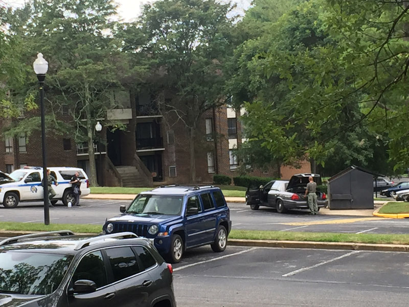 Authorities respond to the scene Randallstown, Maryland, on Monday, August 1, 2016. Photo: Maya Earls/The Baltimore Sun via AP