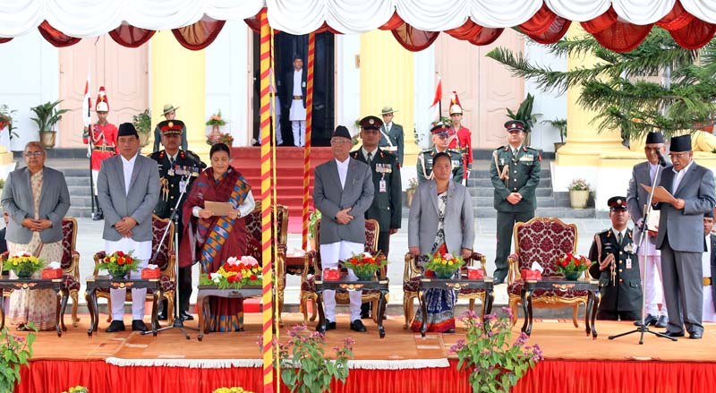 President Bidya Devi Bhandari administers the oath of office and secrecy to newly elected Prime Minister Pushpa Kamal Dahal at the President's Office, Sheetal Niwas, on Thursday, August 4, 2016. Photo: RSS