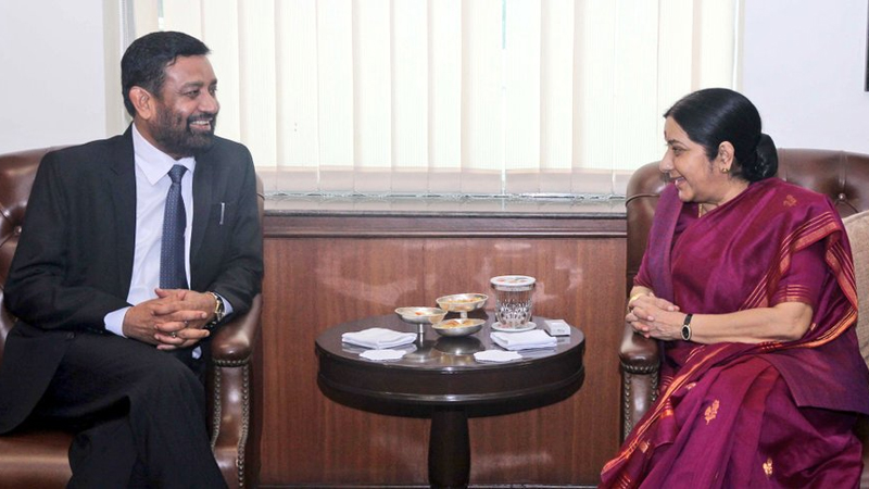 FILE: Nepal's Deputy Prime Minister and Minister for Home Affairs Bimalendra Nidhi meets Indian Minister for External Affairs Sushma Swaraj in New Delhi of India, on Friday, August 19, 2016. Photo: MEAIndia/Twitter