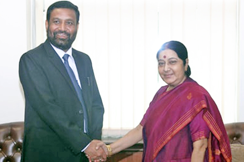 FILE: Nepal's Deputy Prime Minister and Minister for Home Affairs, Bimalendra Nidhi, meets Indian Minister for External Affairs Sushma Swaraj in New Delhi of India, on Friday, August 19, 2016. Photo: MEA India