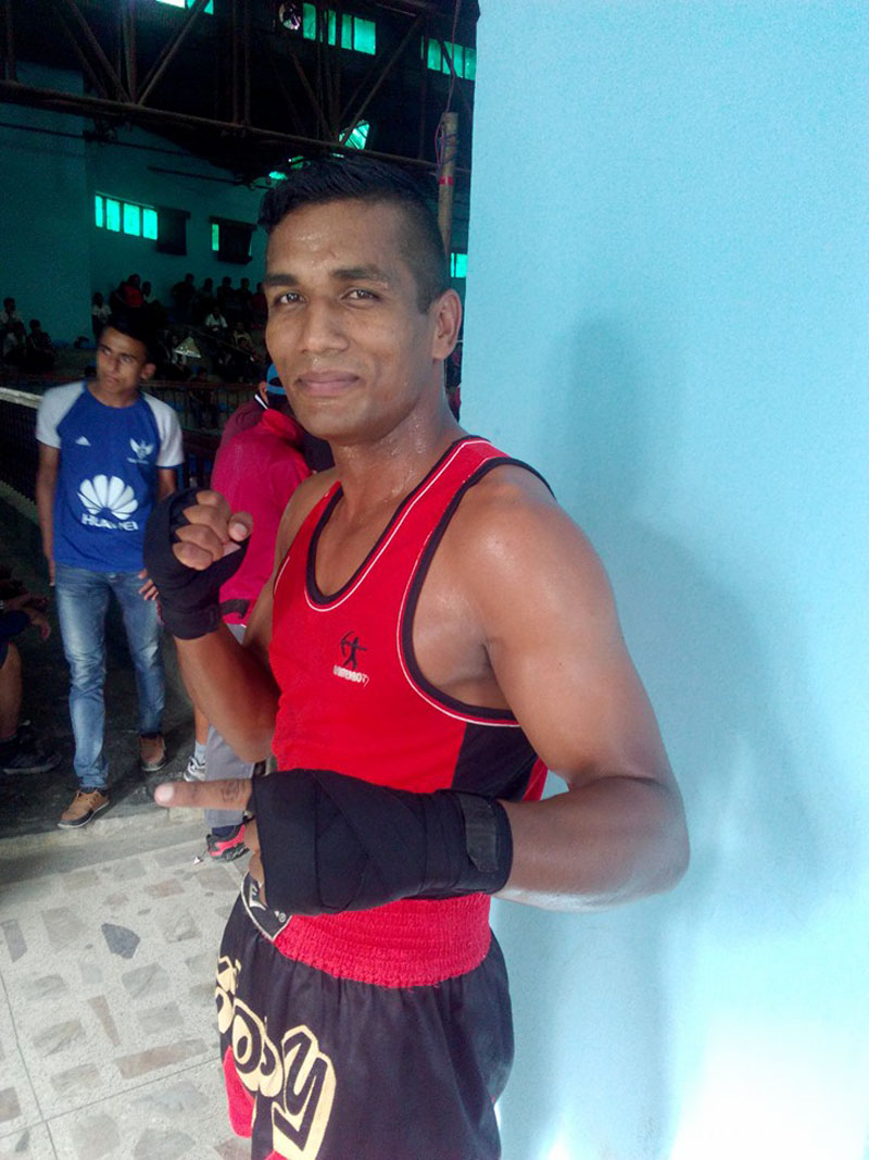 Boxer Manohar Basnet u2018Maxu2019 of Lalitpur. Photo: THT