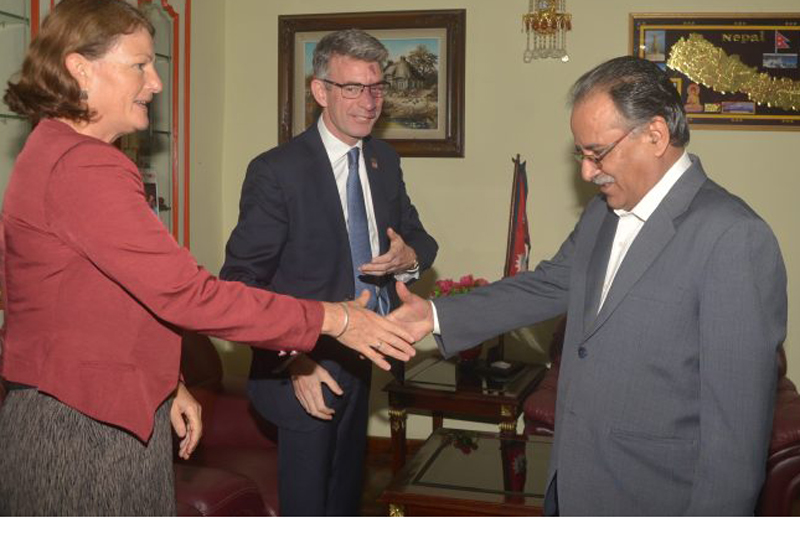 Prime Minister Pushpa Kamal Dahal welcomes Gail Marzetti, head of the Department for International Development (DFID) Nepal Office (left) to his personal residence, in Kathmandu, on Friday, August 5, 2016. Photo: PM's Secretariat