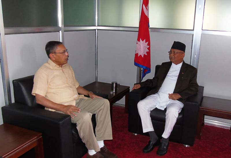 CPN-UML Chairman and former Prime Minister KP Sharma Oli holds a meeting with Indian Ambassador to Nepal Ranjit Rae, at the UML central office in Dhumbarahi of kathmandu, on Sunday, August 7, 2016. Photo: Oli's Secretariat