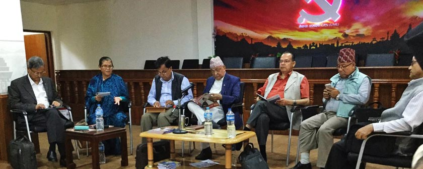 Bhim Rawal, Ashtalaxmi Shakya, Ishwor Pokharel, KP Sharma Oli, Jhalanath Khanal, Madhav Kumar Nepal and Yubaraj Gyawali are seen in the CPN-UML Standing Committee meeting on Wednesday, August 17, 2016. Photo: Yogesh Bhattarai/Twitter