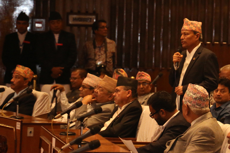 CPN-UML Vice-Chairman Bhim Rawal speaks at the Parliament meeting on Sunday, August 28, 2016. Photo: RSS