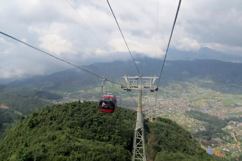 Cable car service being rolled out in Chandragiri hill, a famous tourist destination on the outskirts of Kathmandu, on Wednesday, August 21, 2016. Photo: RSS