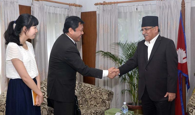 Chinese delegation with PM Pushpa Kamal Dahal