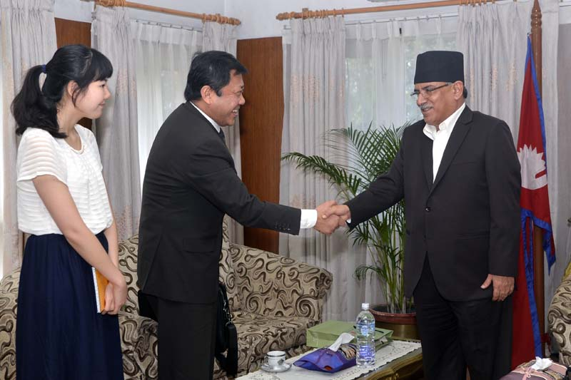 Chinese delegation from the China Institute of Contemporary Relations in a meeting with Prime Minister Pushpa Kamal Dahal at the latter's official residence in Baluwatar on Tuesday, August 9, 2016. Photo Courtesy: PM's Secretariat