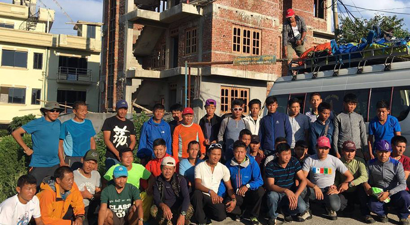 Climbing Sherpas of Seven Summit Treks pose for a photograph before leaving for the Mt Manaslu in Kathmandu on Thursday, August 25, 2016. Photo: Seven Summit Treks