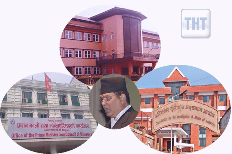File images of OPMC, CIAA, Supreme Court and Lok Man Singh Karki. Photos: THT