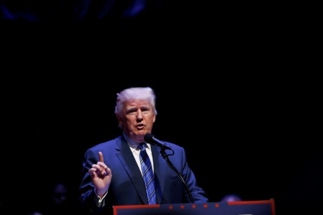 Republican U.S. presidential nominee Donald Trump attends a campaign event at the Merrill Auditorium in Portland, Maine August 4, 2016. REUTERS/Eric Thayer