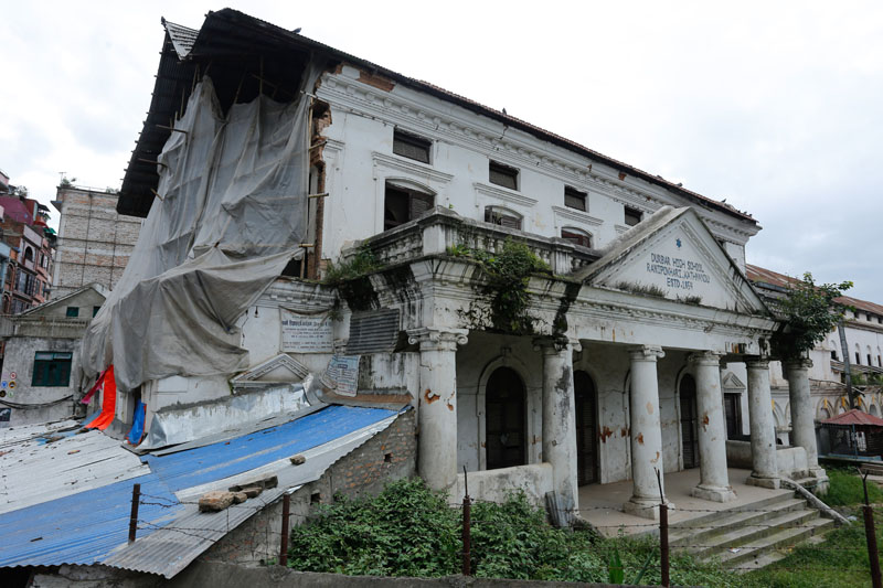 A view of Durbar High School, the first school in Nepal, damaged by April 25 earthquake, on August 20, 2016. Photo: Bikesh Prajapati/THT