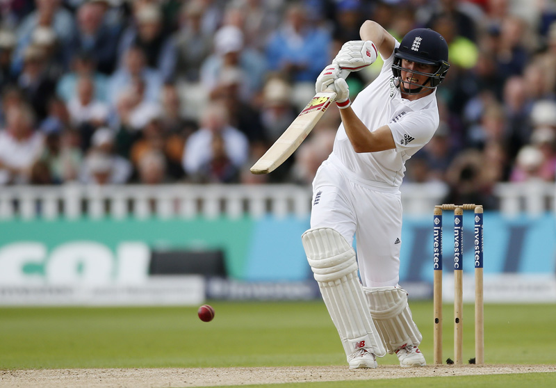 England's Gary Ballance plays a straight drive against Pakistan during Third Test match at Edgbaston, on Wednesday, August 3, 2016. Photo: Reuters