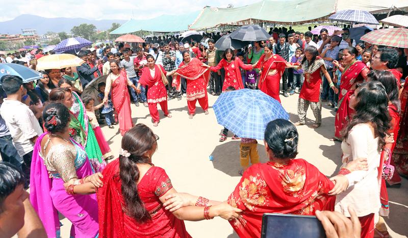 Women seen dancing on the occasion of Gaura Parba at Tundikhel, Kathmandu, on Thursday, August 25, 2016. Photo: RSS